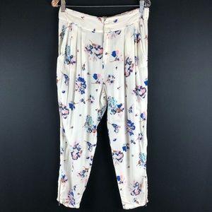 Zara Trafaluc White Floral Zipper Hem Pants